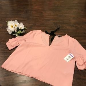 NWT Topshop | mauve boxy blouse with boy tie back